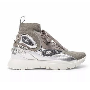 VALENTINO Embellished High Top Sneakers Heroes Her